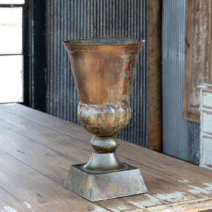 Patina Green Metal Trumpet Vase, 17""