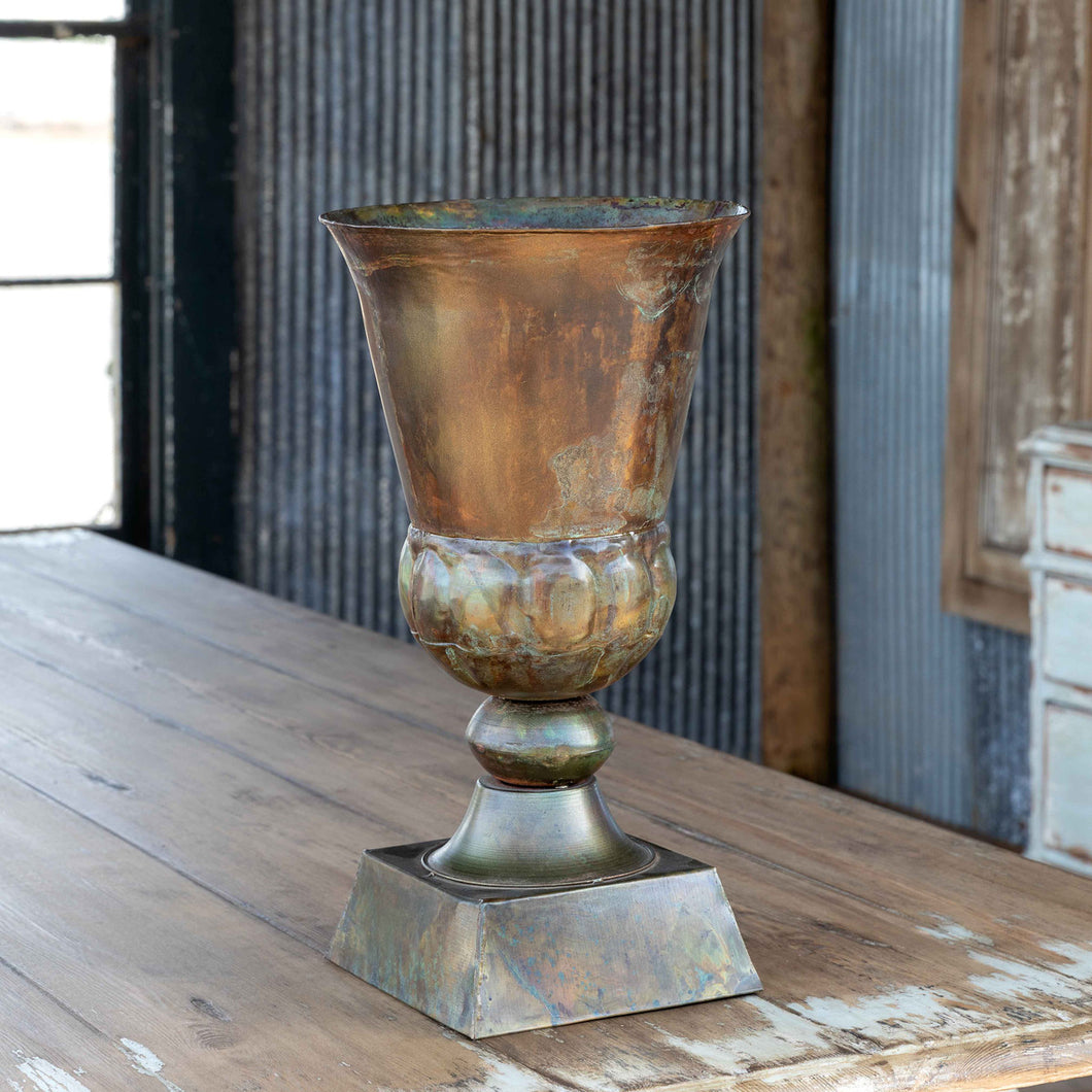 Patina Green Metal Trumpet Vase, 17