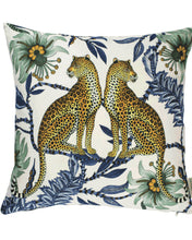 Load image into Gallery viewer, Lovebird Leopards Tanzanite Cotton Pillow