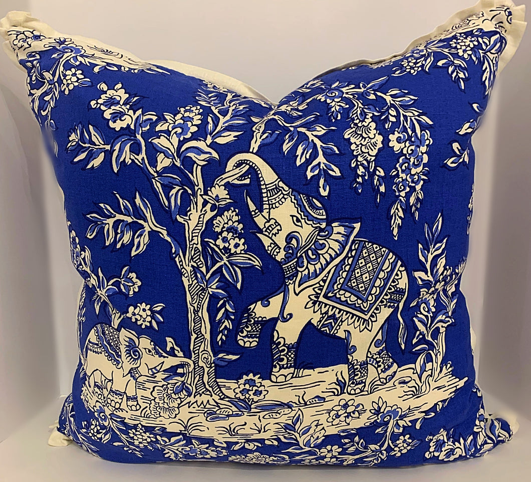 Elephant Blue and White Pillow