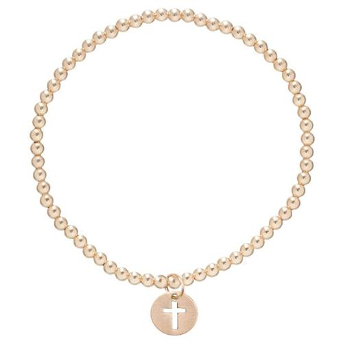 classic gold 3mm bead bracelet - blessed charm