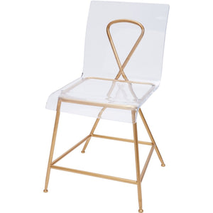 "GOLD AND ACRYLIC AINSLEY CHAIR, 18"" SEAT HEIGHT"