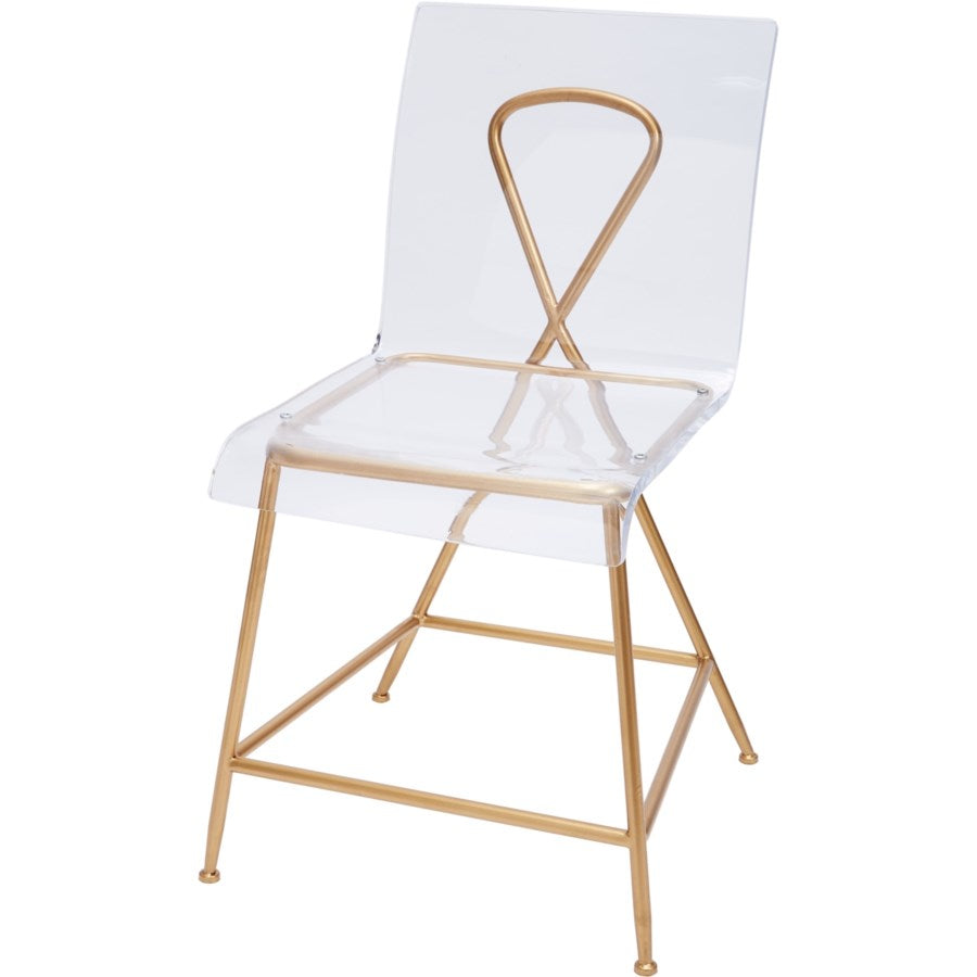 GOLD AND ACRYLIC AINSLEY CHAIR, 18