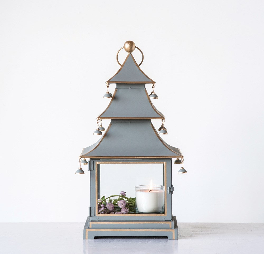 H Hand-Painted Glass & Metal Pagoda Lantern, Grey w/ Gold Accents
