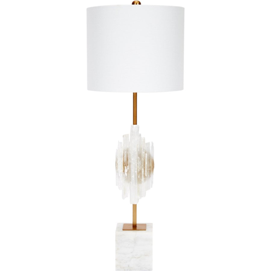 SELANITE BUFFET LAMP WITH WHITE MARBLE BASE & LINEN SHADE