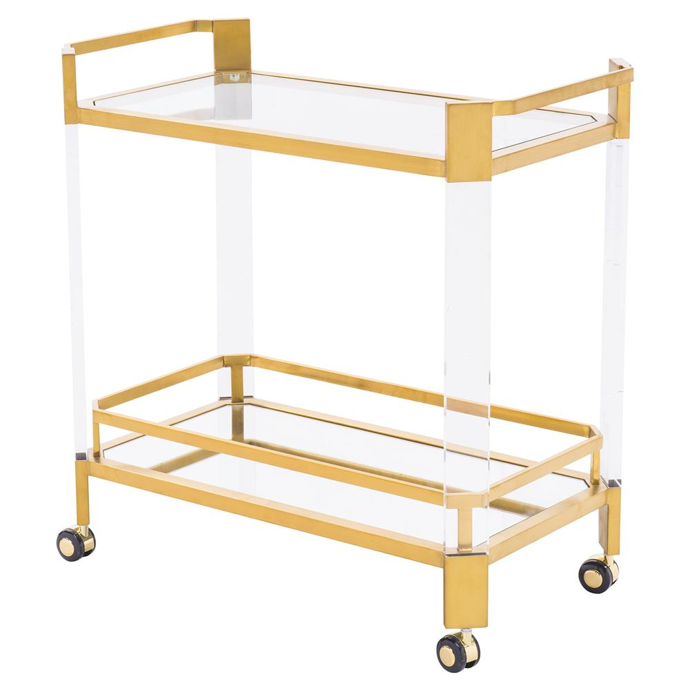 Gold and Lucite Bar Cart