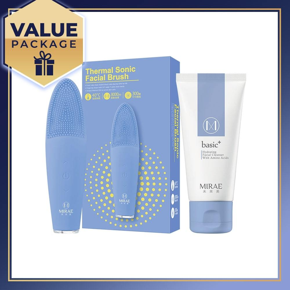 MIRAE Thermal Sonic Facial Brush + Basic+ Hydrating Facial Cleanser With Amino Acids 120ml - mirae-beauty-8-malaysia