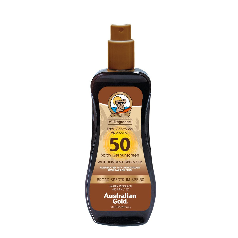 Australian Gold Spray Gel Sunscreen with Instant Bronzer SPF 50, 8 Ounce | Moisturize & Hydrate Skin | Broad Spectrum | Water Resistant