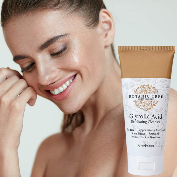 Glycolic Acid Face Wash Exfoliating Cleanser 6oz w/10% Glycolic Acid- AHA For Wrinkles and Lines Reduction-Acne Face Wash For a Deep Clean- Contains Organic Extracts Such As Bamboo, Shea Butter,And Tea Tree. It Helps For Cystic Acne.