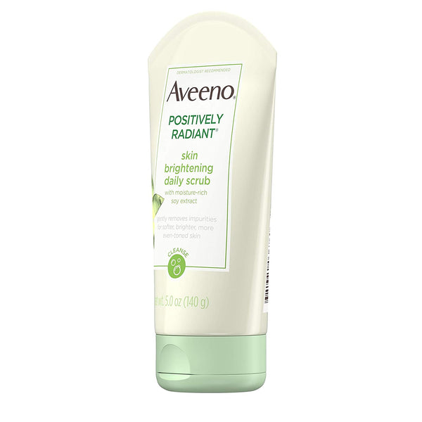 Aveeno Positively Radiant Skin Brightening Daily Facial Scrub, 5 Oz , Moisture-Rich Soy Extract, Soap-Free, Hypoallergenic & Non-Comedogenic Face Cleanser, 5 oz