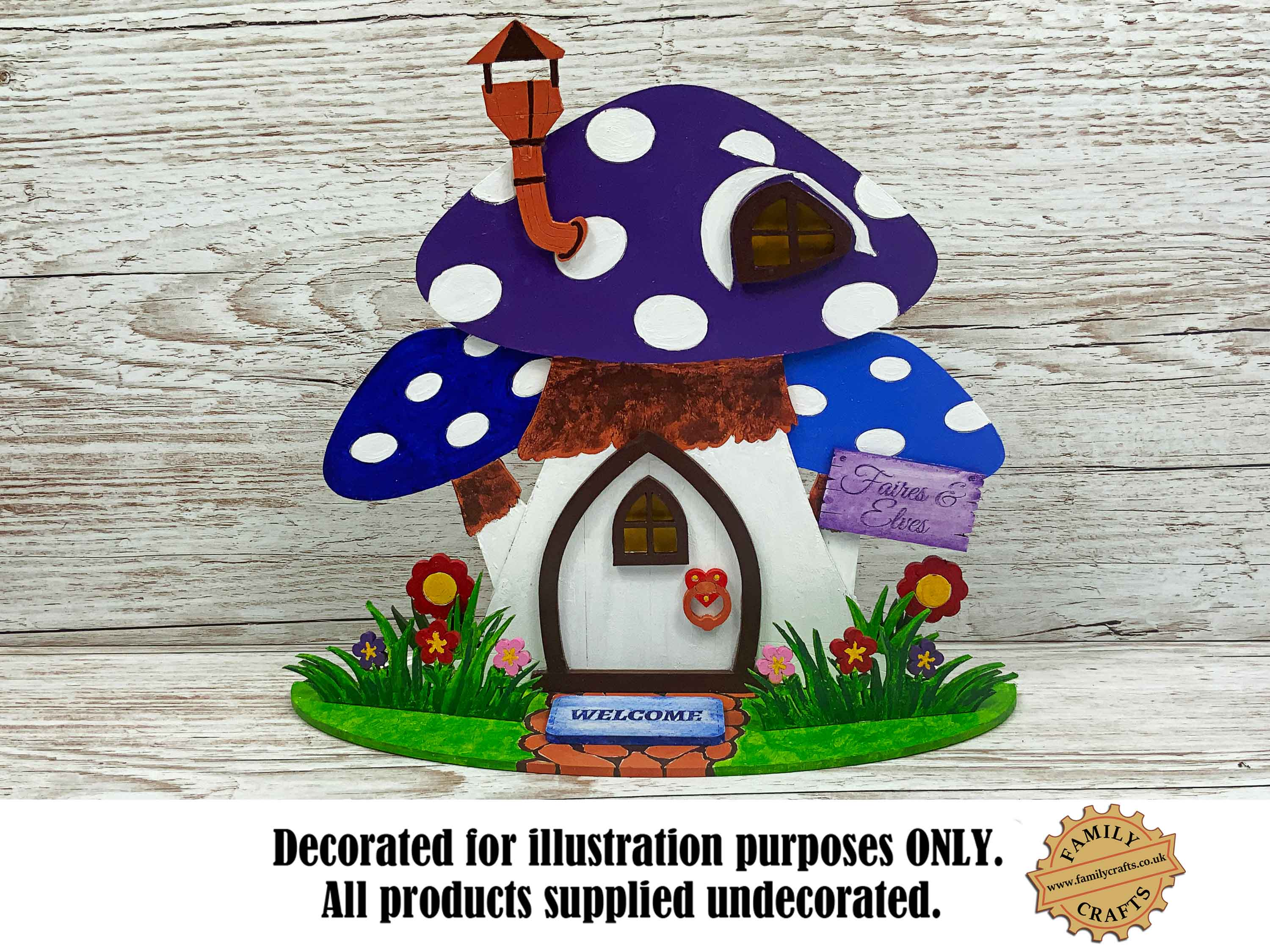 painted mushroom fairy house view front