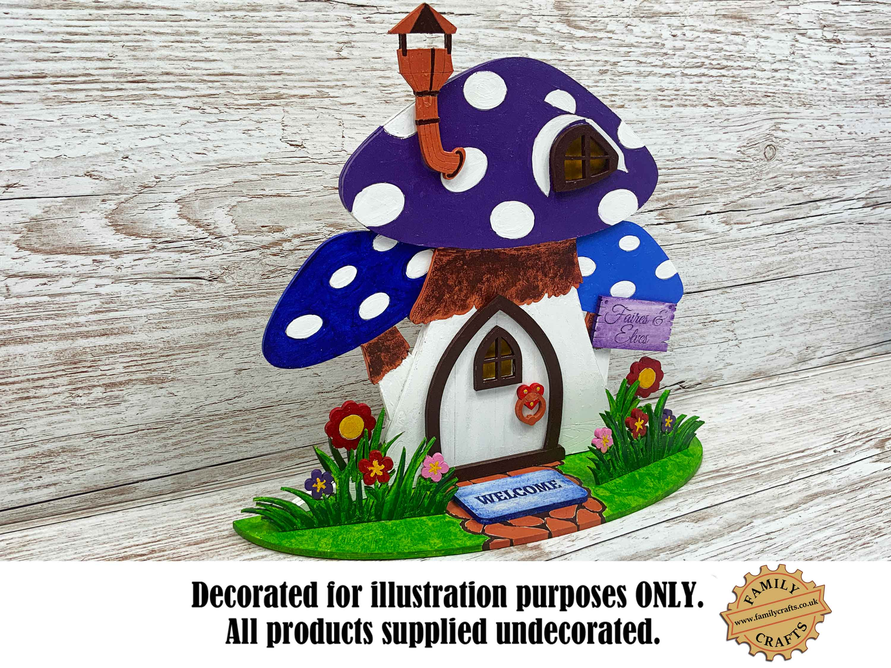 painted mushroom fairy house view left