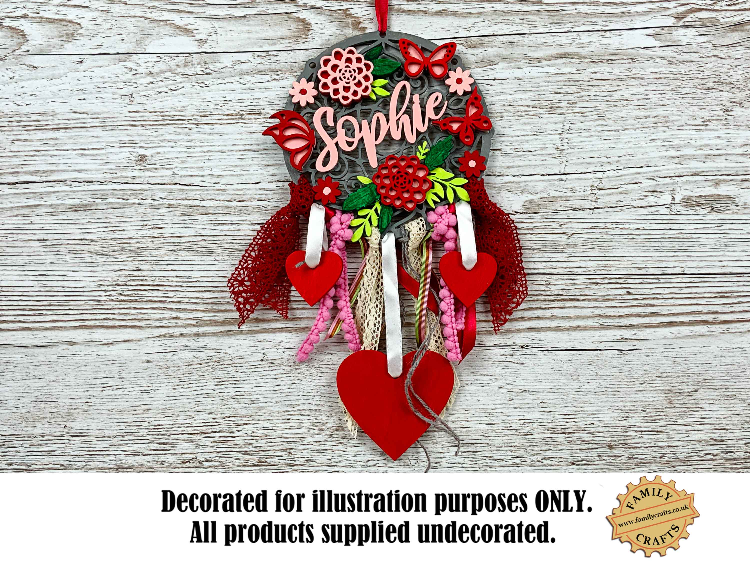 Double Dahlia Themed Wall Hanging Dream Catcher