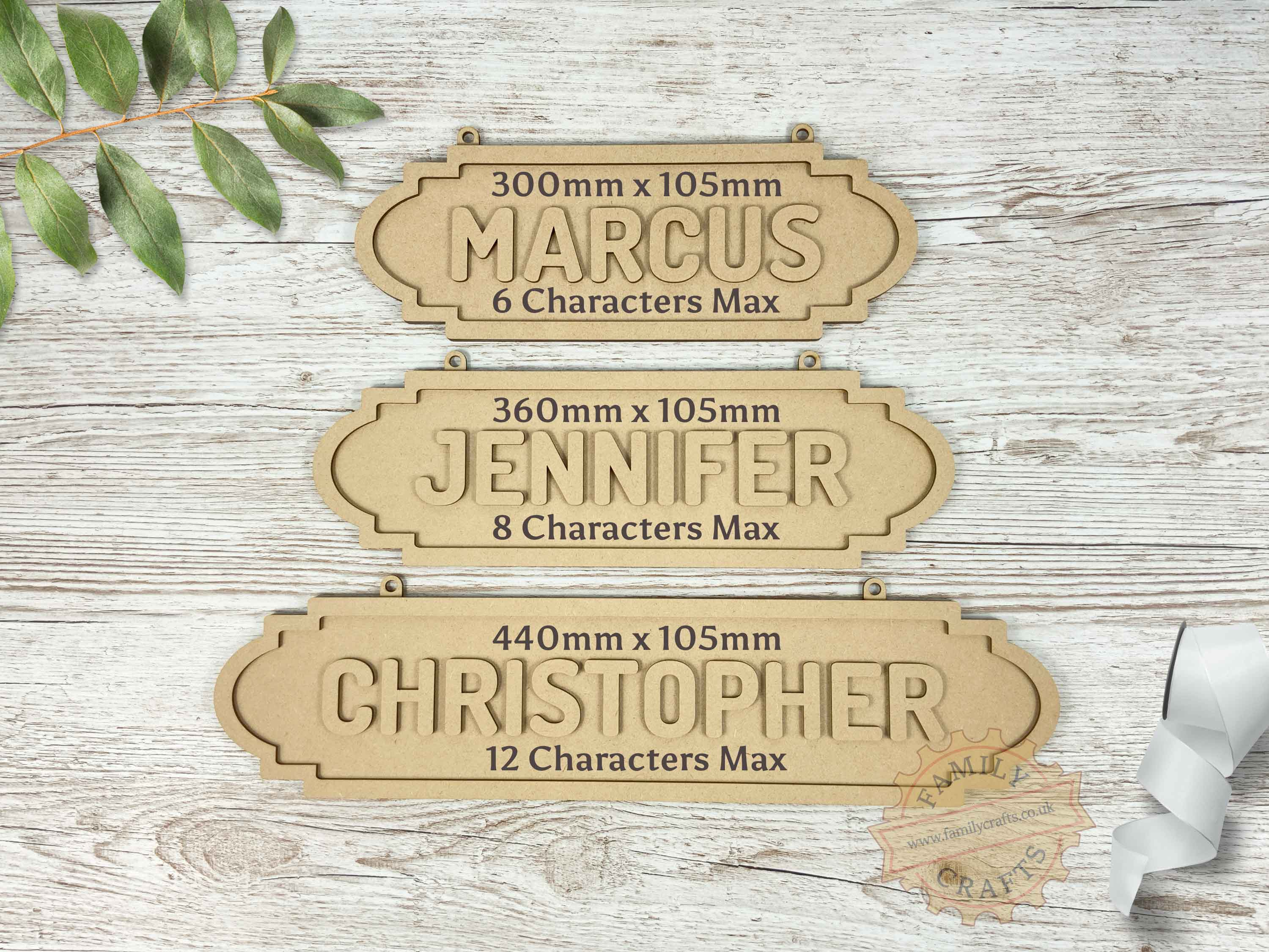 Name Sign Sizes