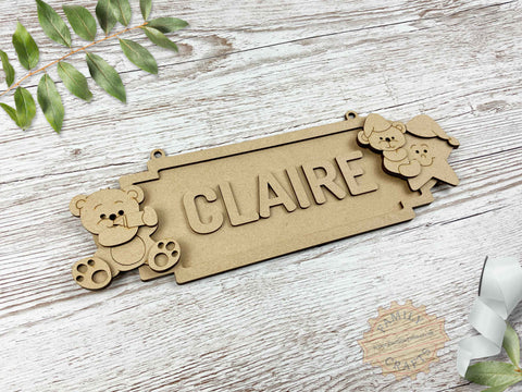 Nursery Name Sign, Baby Bear Themed Door Sign 6 Characters View Left