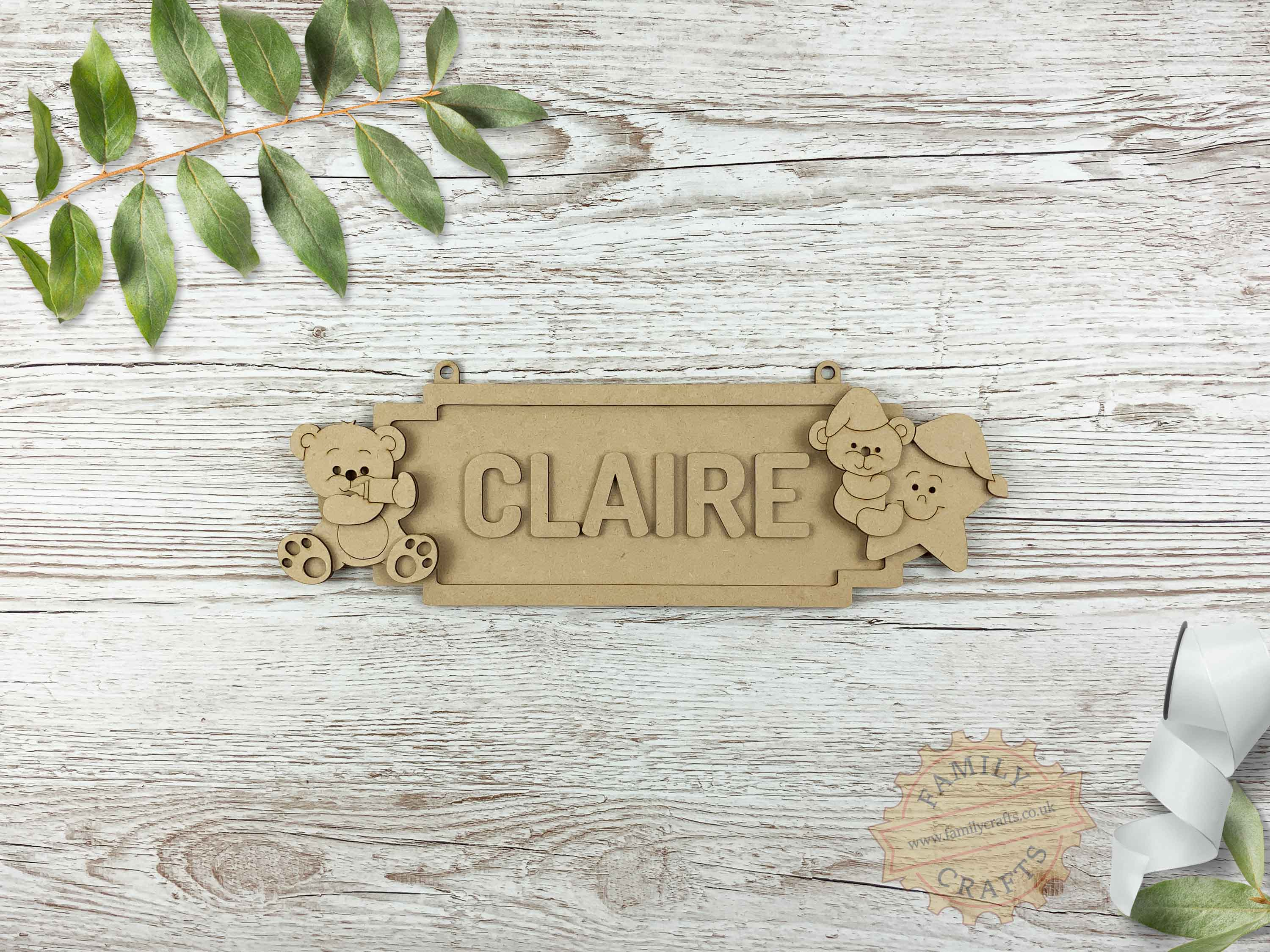 Nursery Name Sign, Baby Bear Themed Door Sign 6 Characters