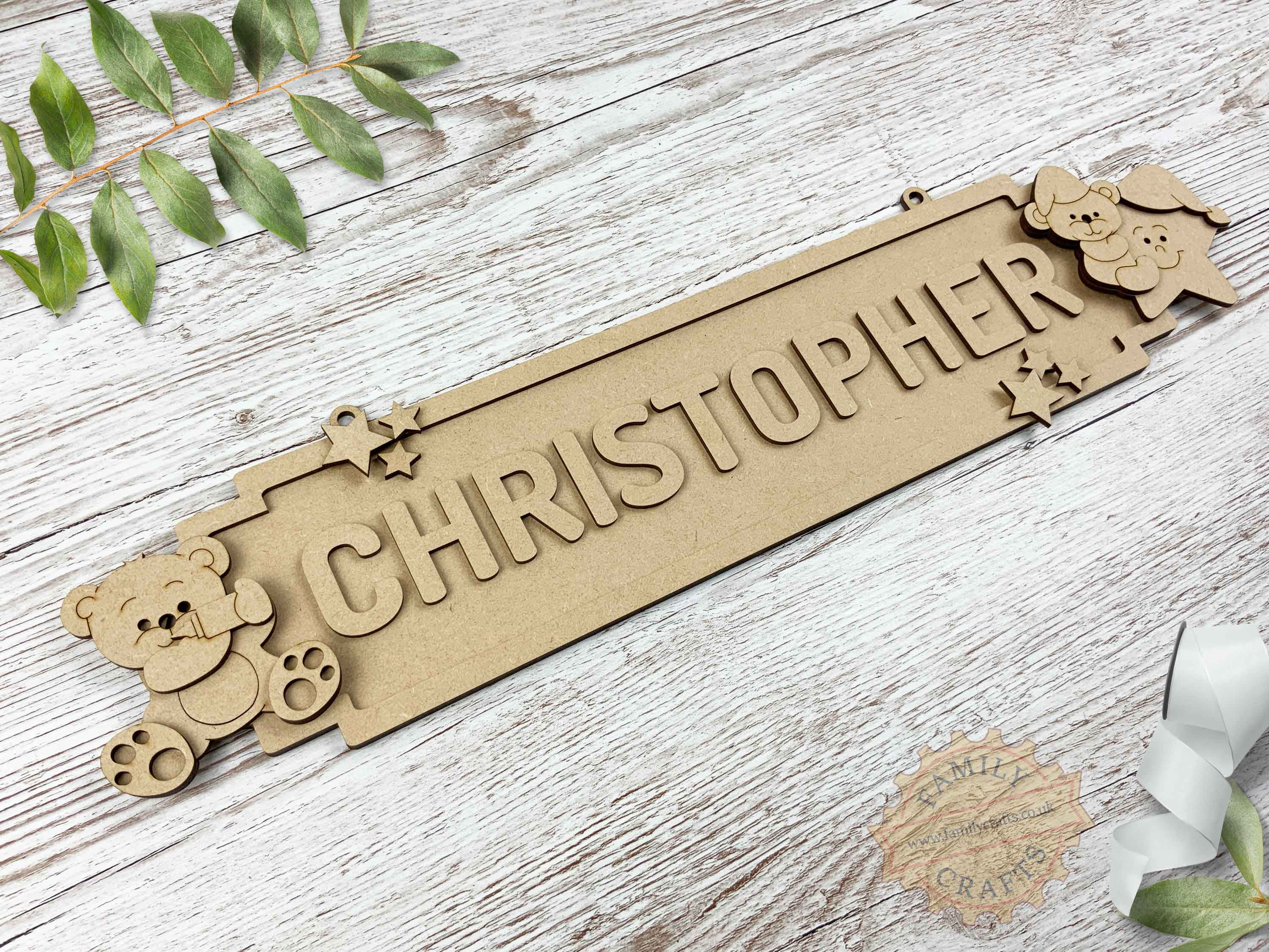 Nursery Name Sign, Baby Bear Themed Door Sign 12 Characters View Left