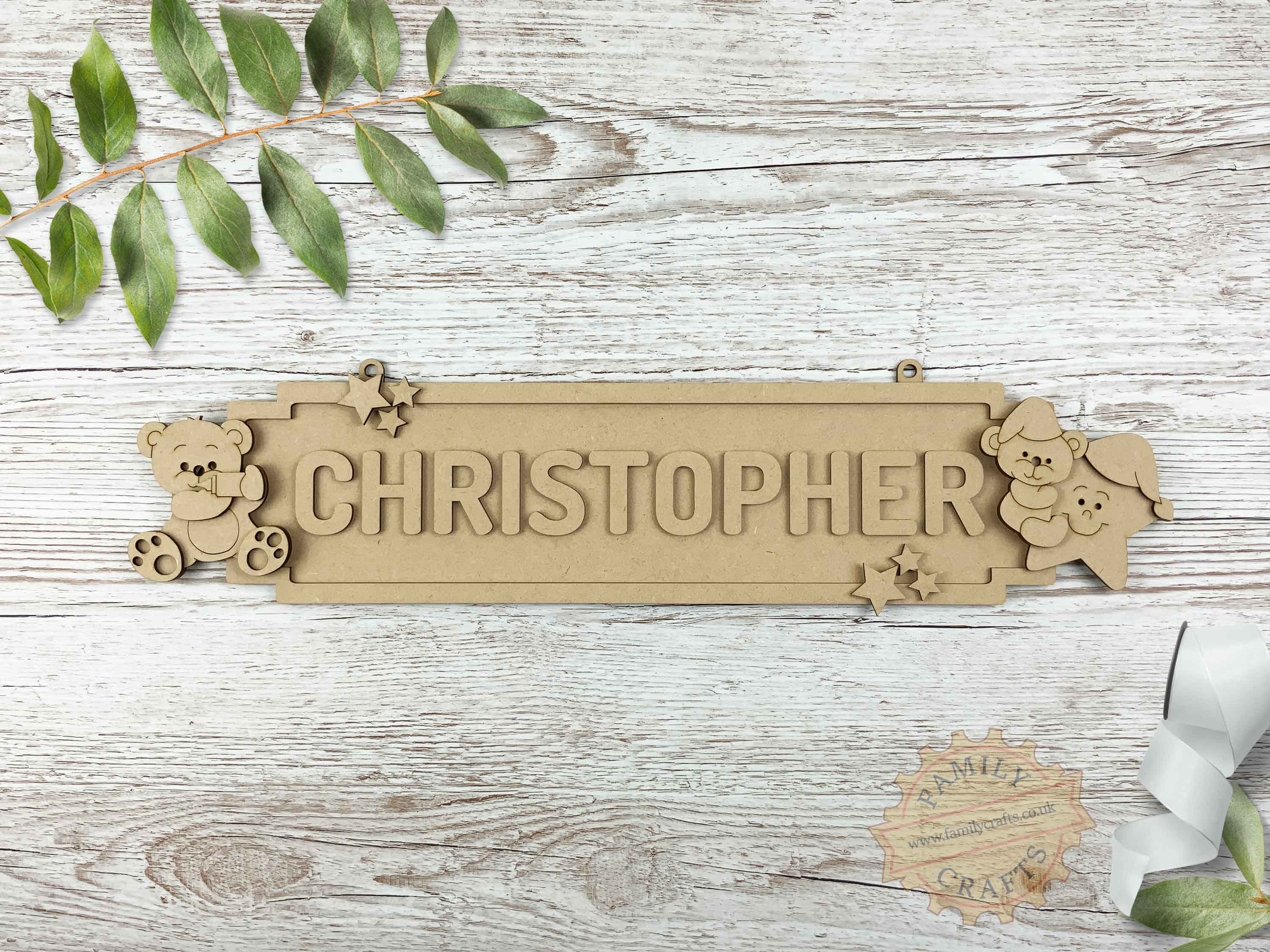 Nursery Name Sign, Baby Bear Themed Door Sign 12 Characters