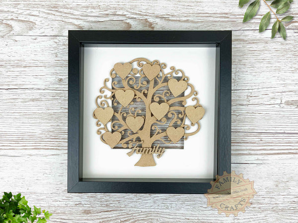curly branch family tree in box frame