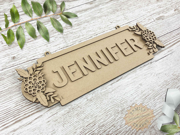 Floral Name Sign, Double Dahlia Themed 8 Characters View Left