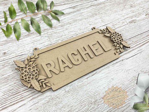 Floral Name Sign, Double Dahlia Themed 6 Characters View Left