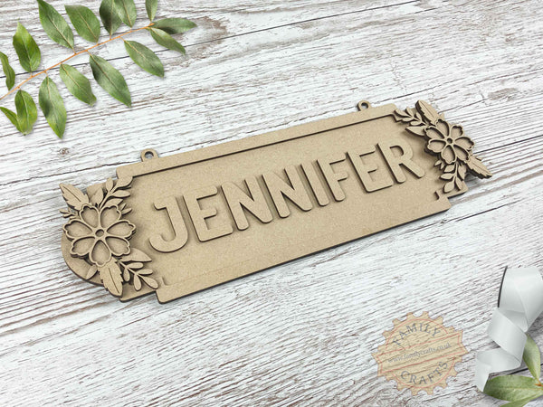 Floral Door Plaque, Double Forget-Me-Not Themed 8 Characters View Left