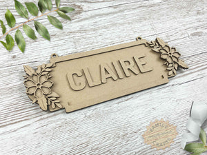 Floral Door Plaque, Double Forget-Me-Not Themed 6 Characters View Left