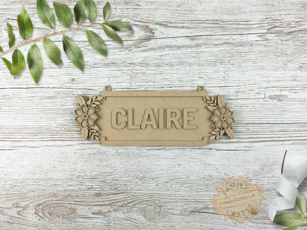 Floral Door Plaque, Double Forget-Me-Not Themed 6 Characters