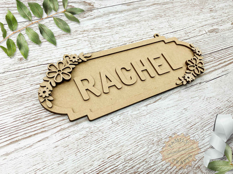 Floral Name Sign, Double Pansy Themed 6 Characters View Left