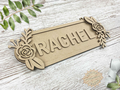 Floral Door Sign, Double Rose Themed 6 Characters View Left