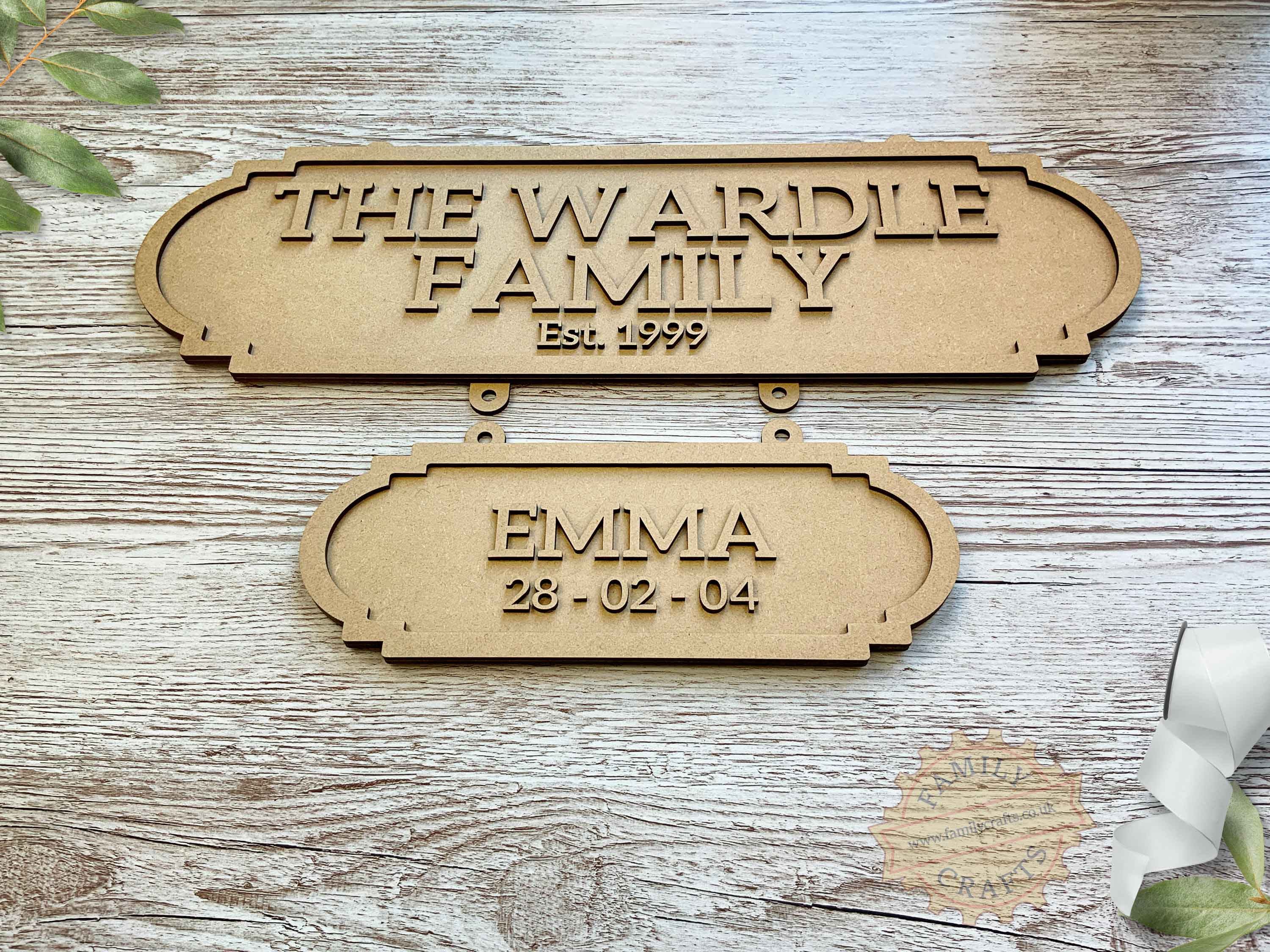 Family Surname Plaque with Additional Name Plaque View Front