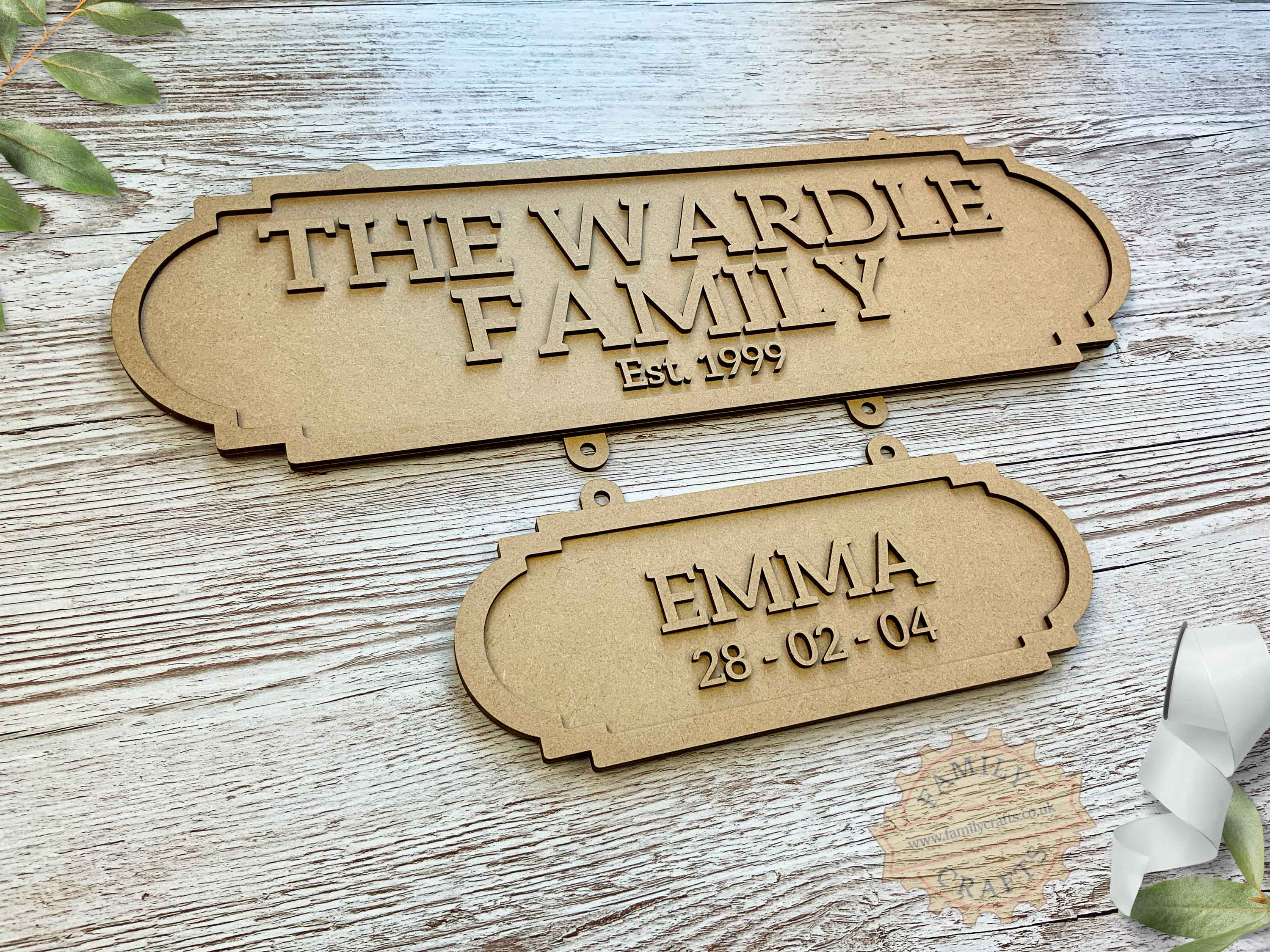 Family Surname Plaque with Additional Name Plaque View Left