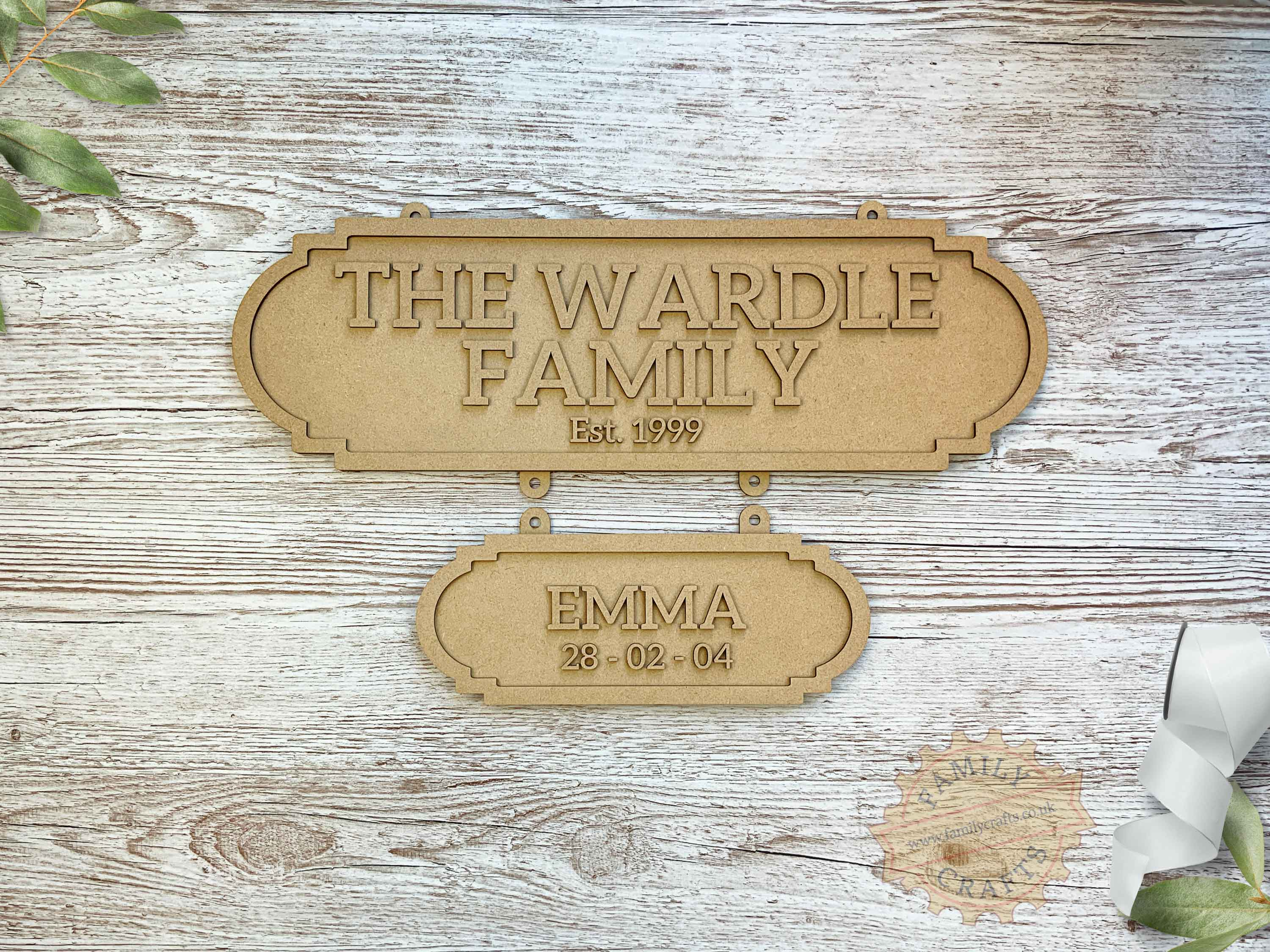 Family Surname Plaque with Additional Name Plaque