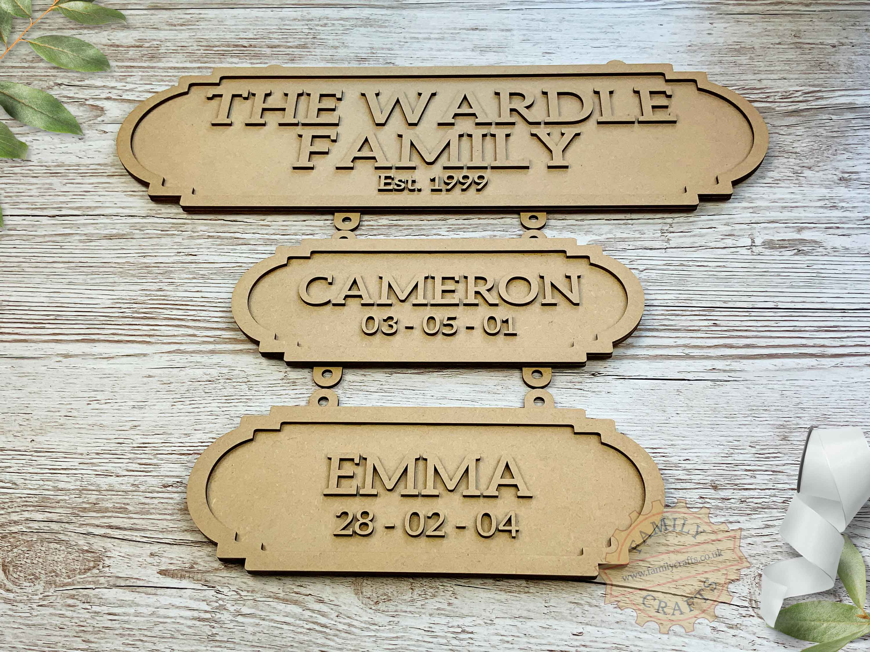 Family Surname Plaque with Additional Name Plaques View Front