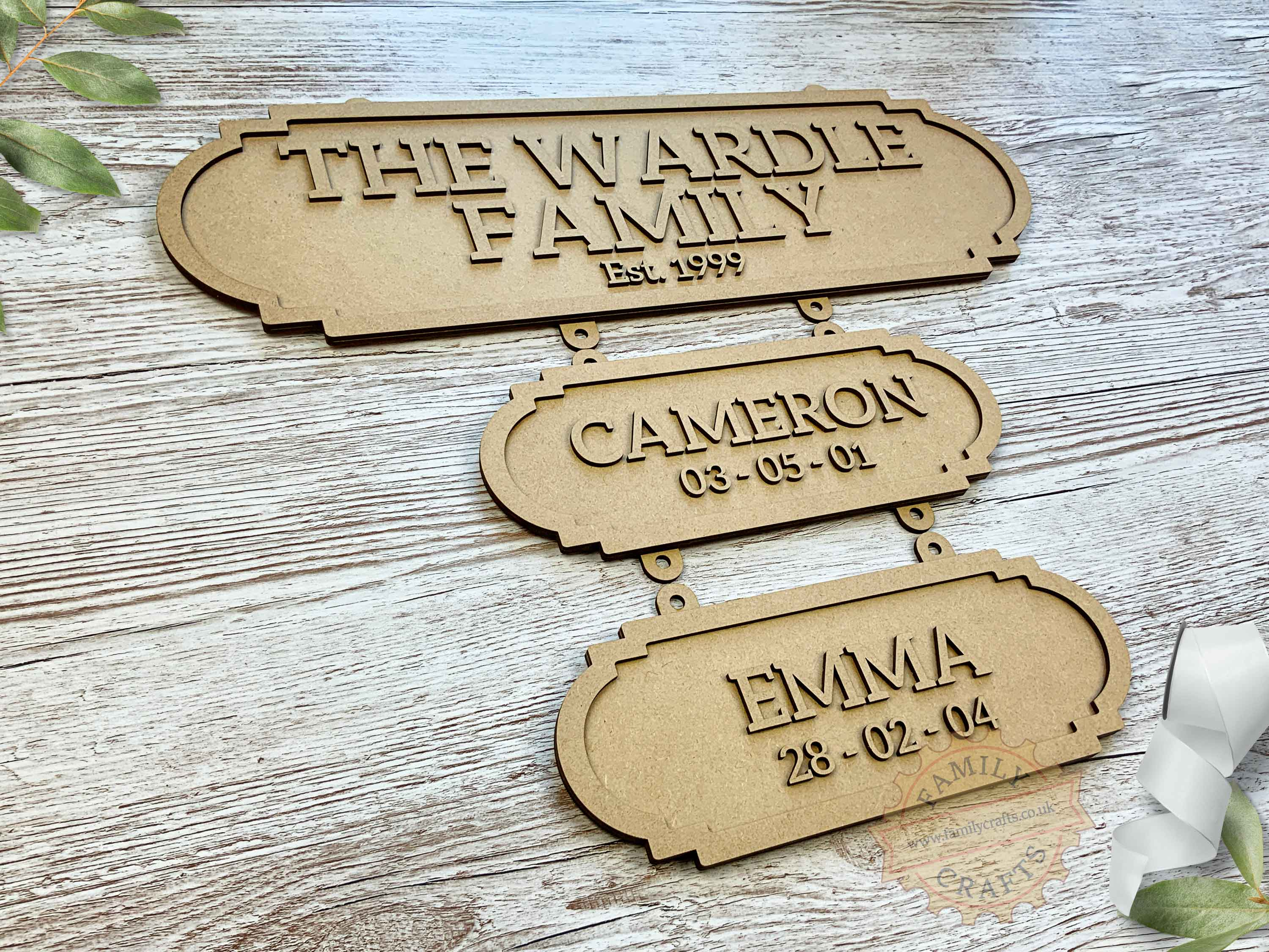 Family Surname Plaque with Additional Name Plaques View Left