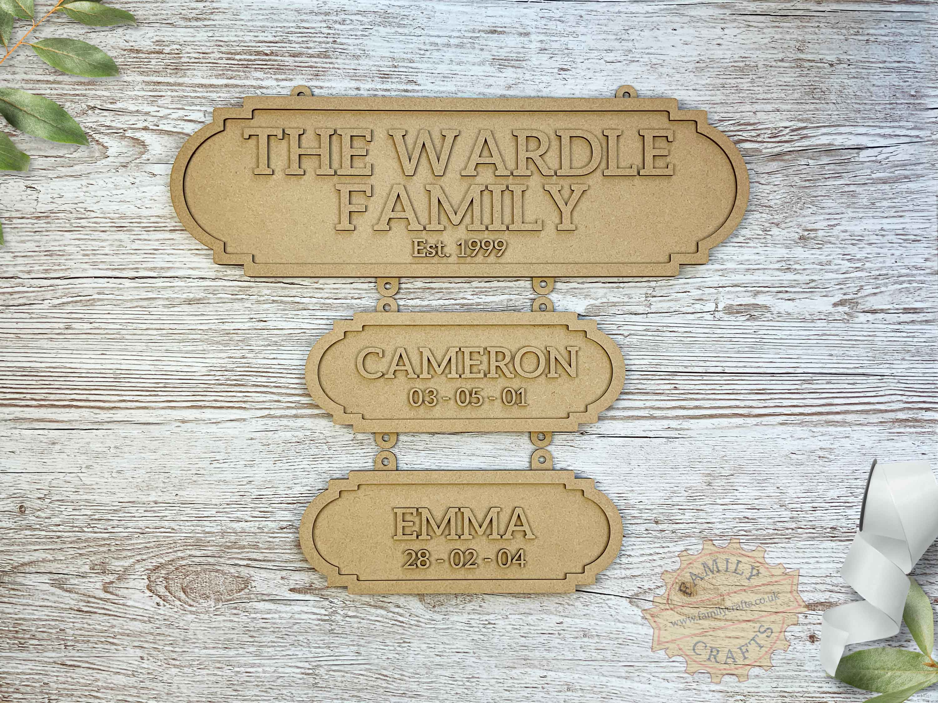 Family Surname Plaque with Additional Name Plaques