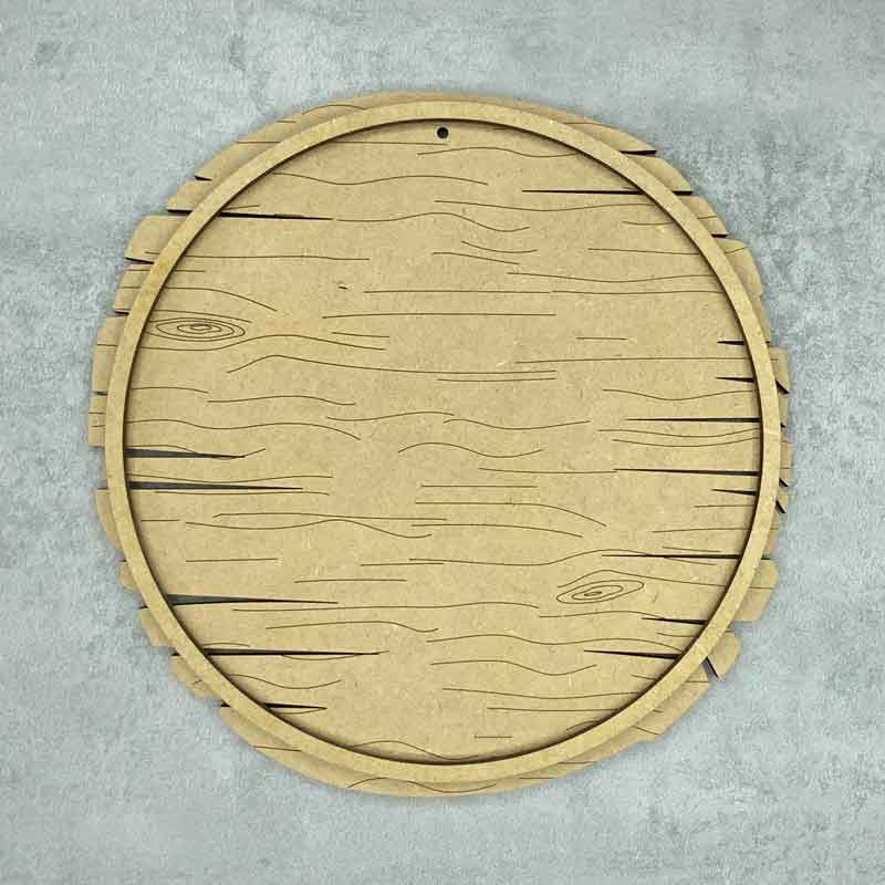 driftwood round plaque, wood grain effect with outer frame