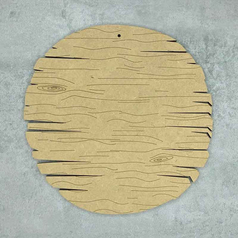 driftwood round plaque with wood grain effect