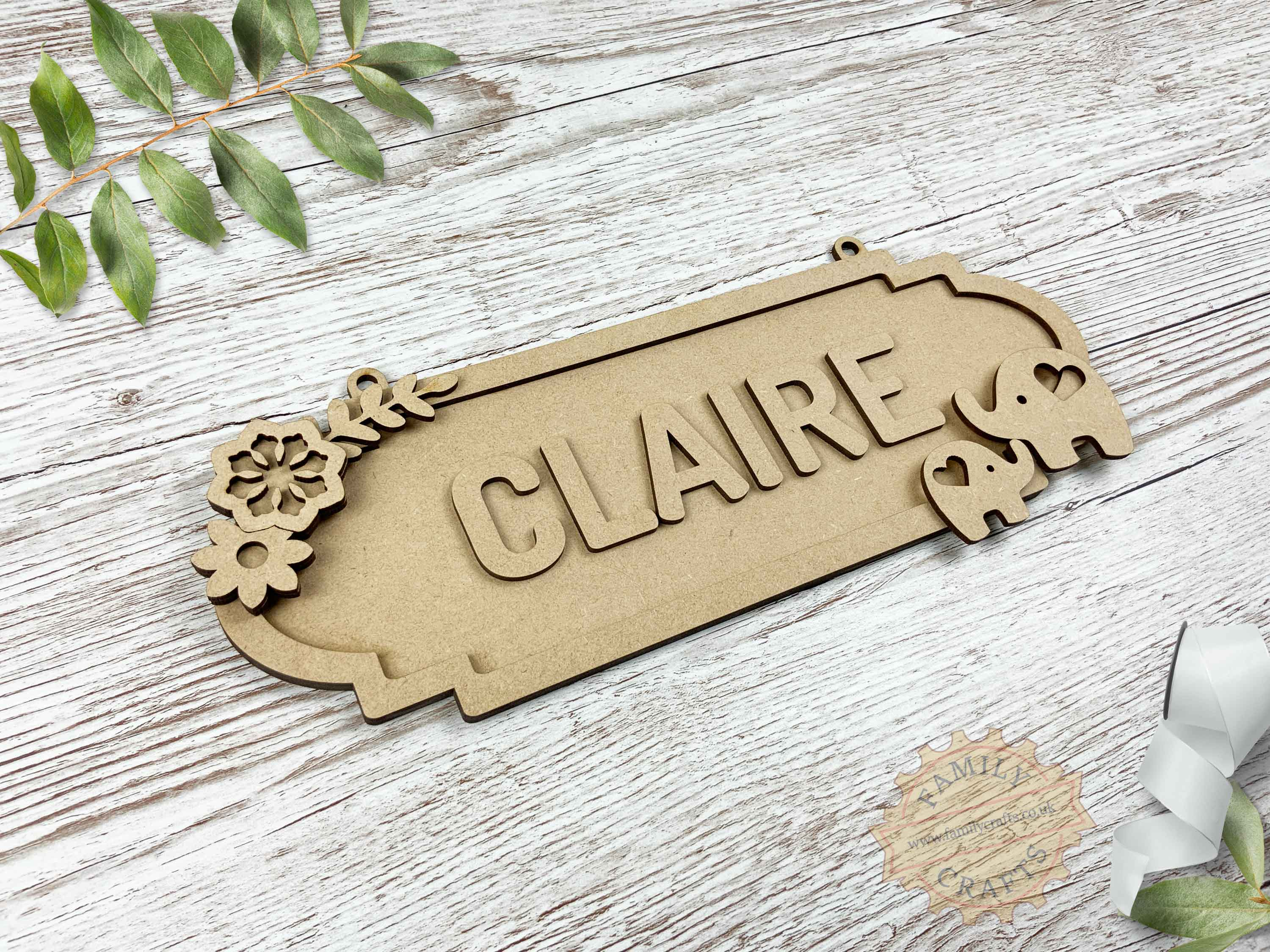 Mother and Baby Elephant Themed Name Sign 6 Characters View Left
