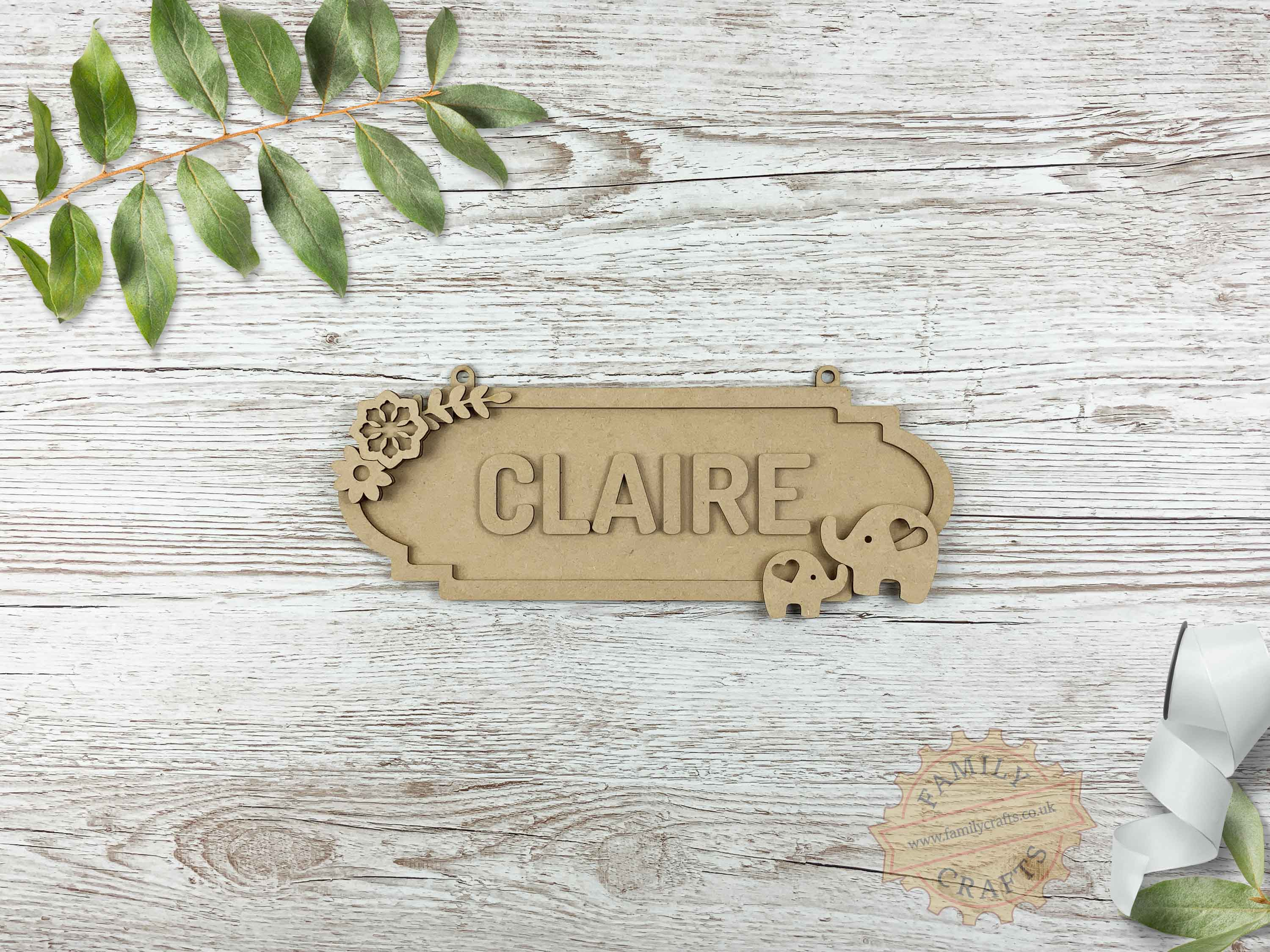 Mother and Baby Elephant Themed Name Sign 6 Characters