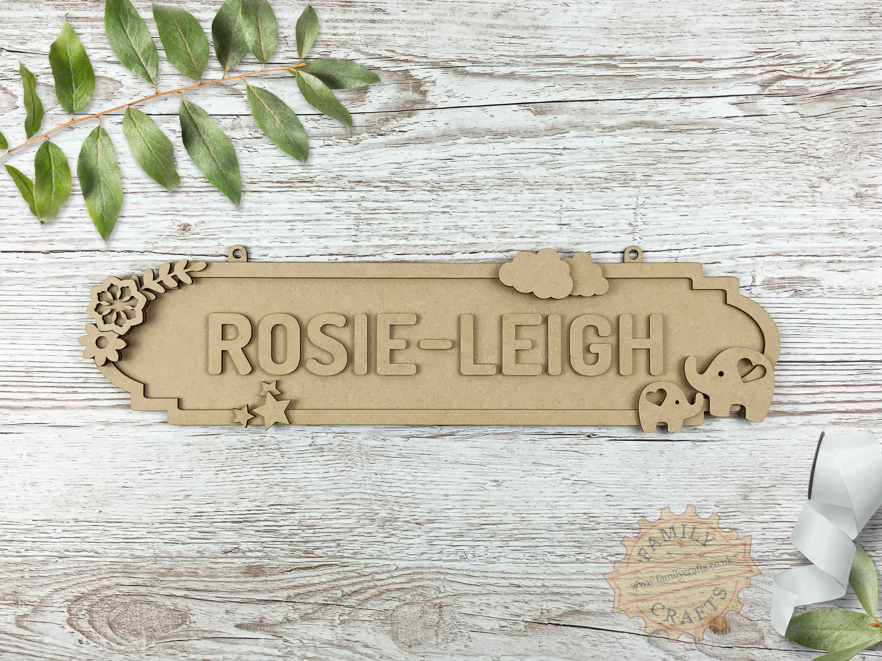 Mother and Baby Elephant Themed Name Sign 12 Characters