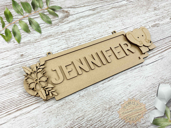 Floral Name Sign with Elephant 8 Characters View Left