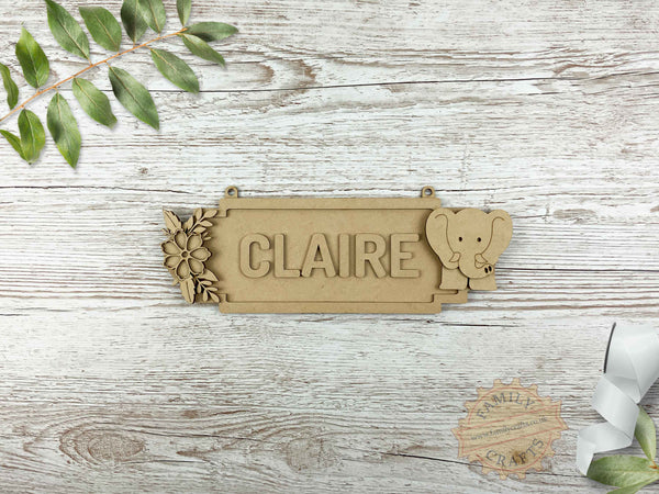 Floral Name Sign with Elephant 6 Characters