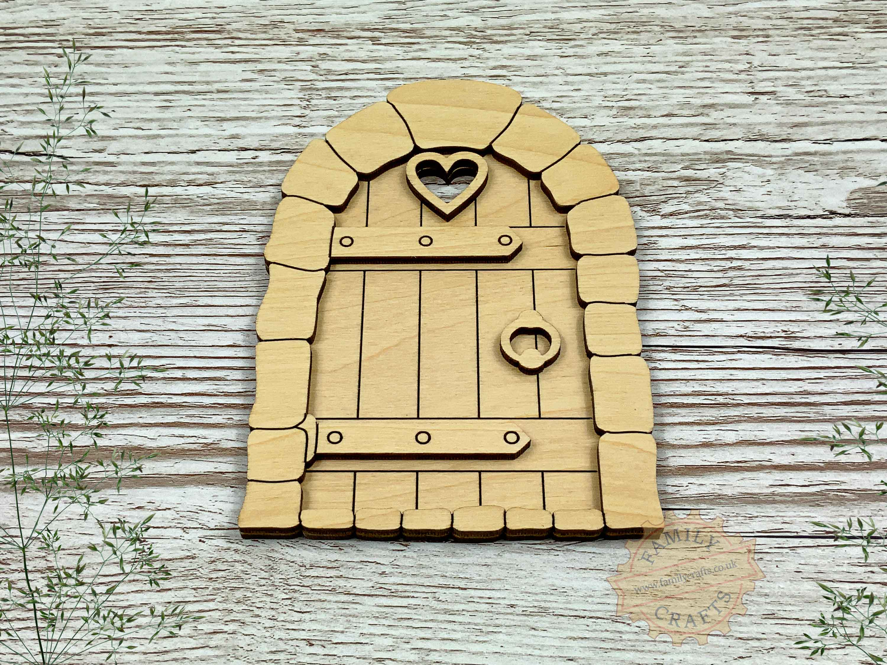 plywood cobblestone fairy door kit view front