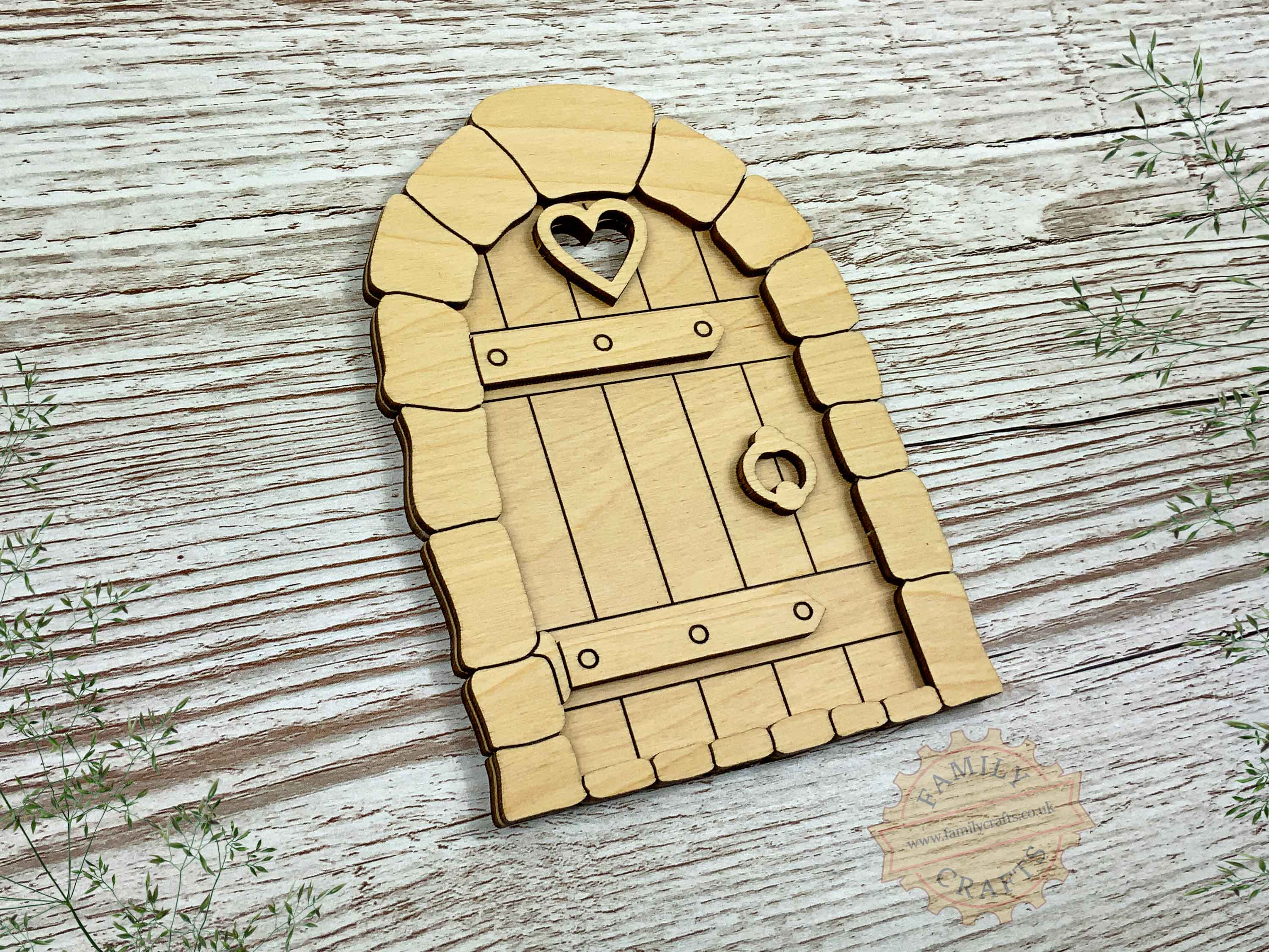 plywood cobblestone fairy door kit view left