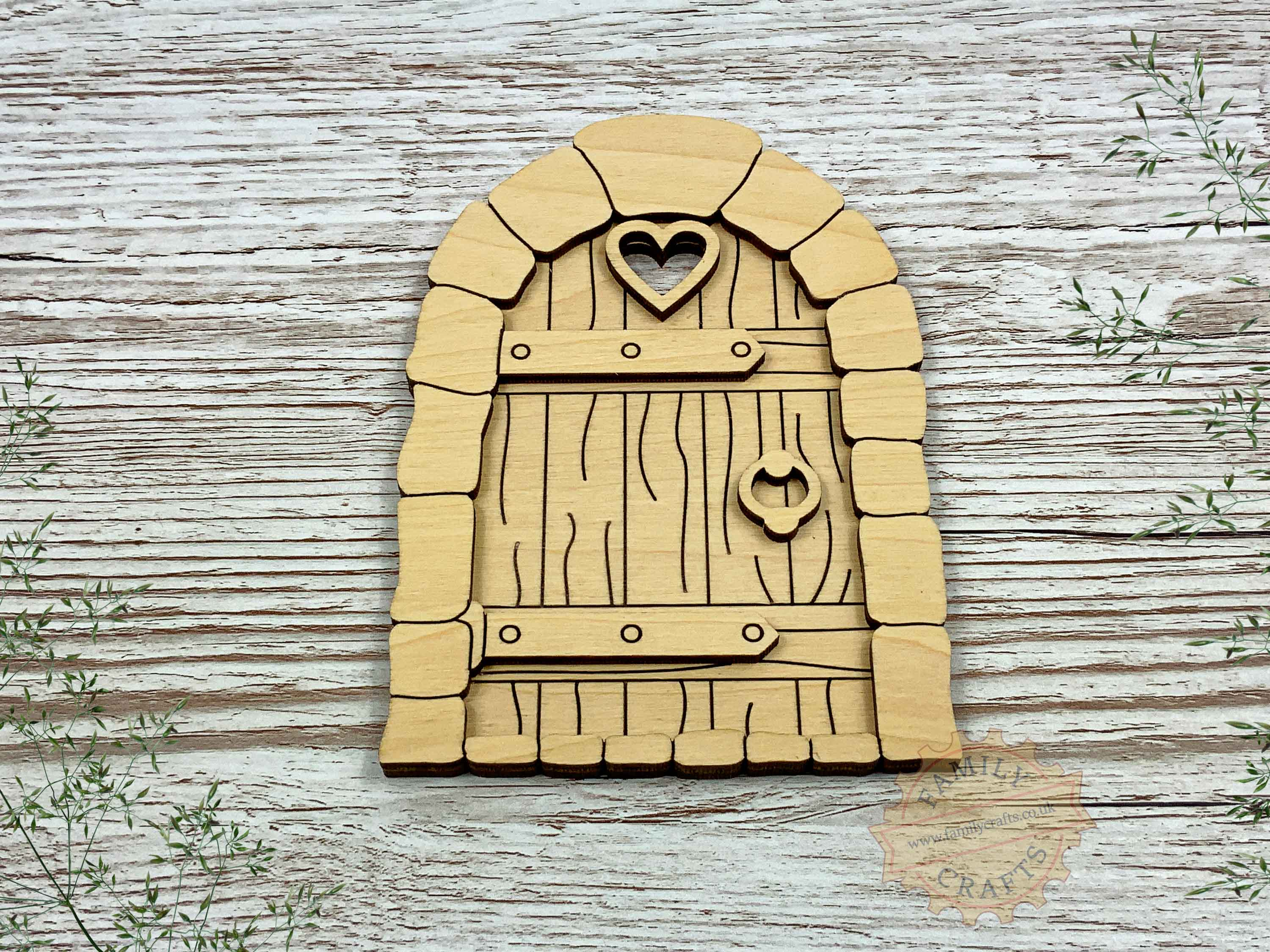 plywood cobblestone fairy door kit with woodgrain view front