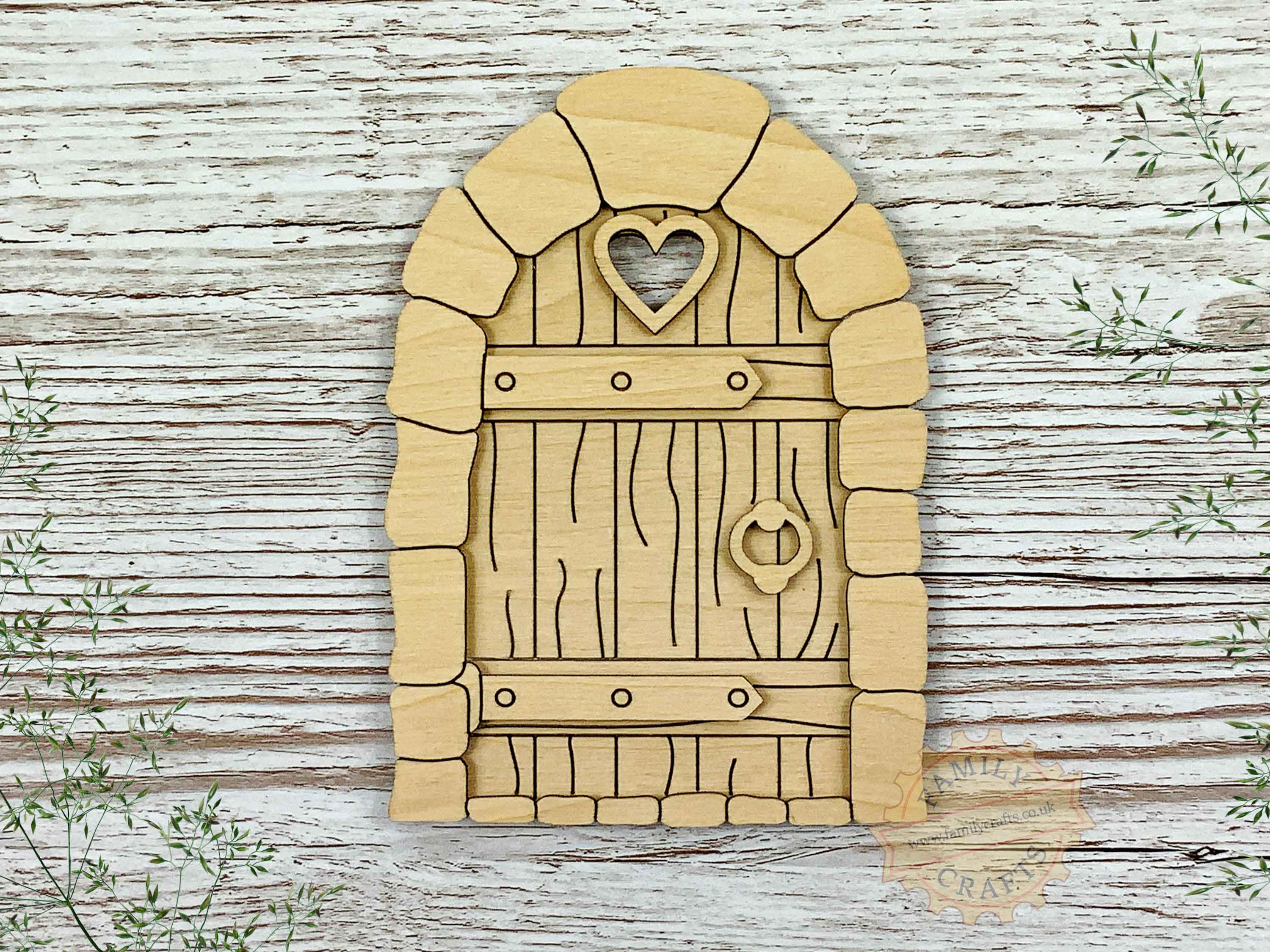 plywood cobblestone fairy door kit with woodgrain