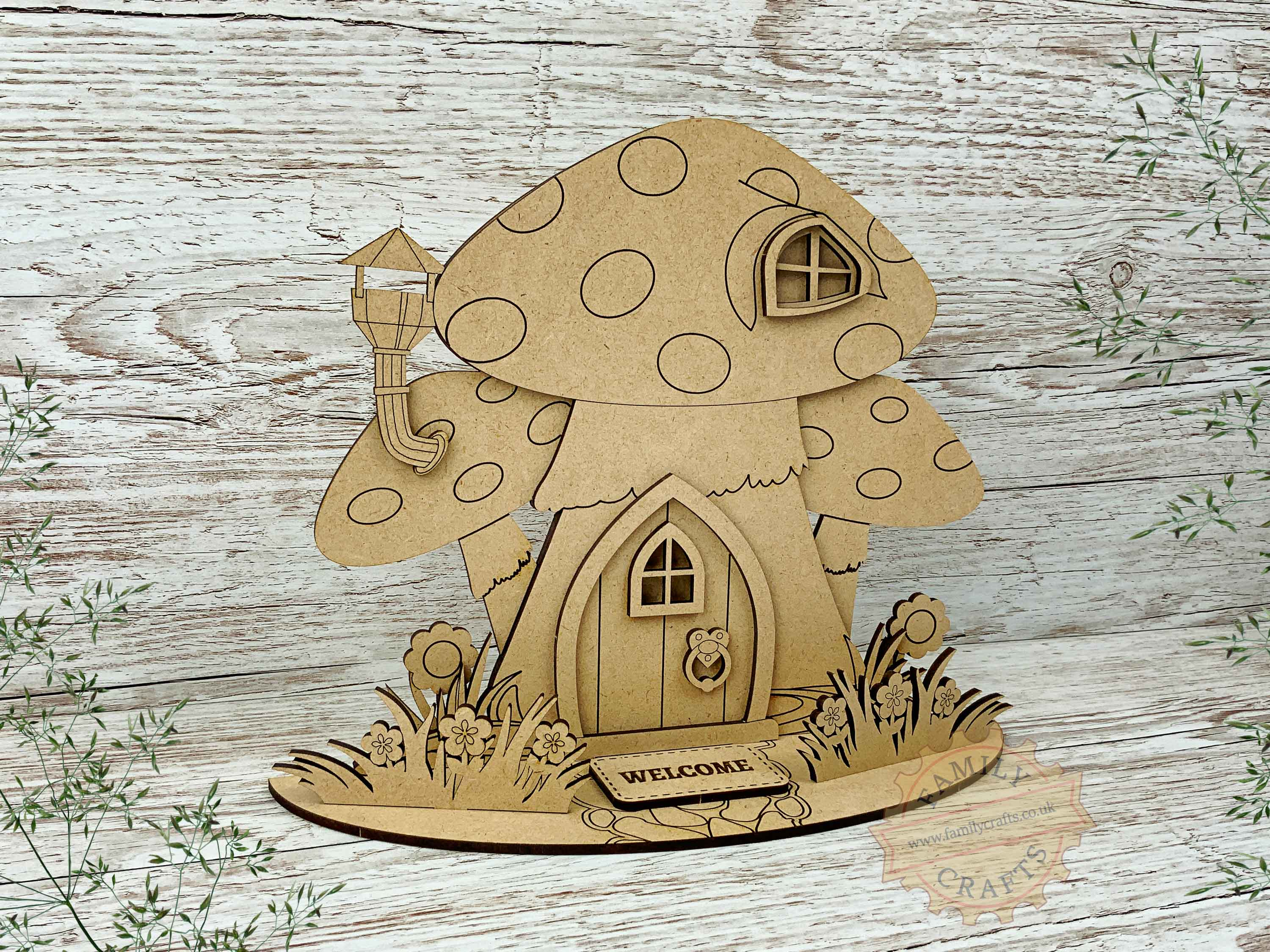 mushroom fairy house garden view left