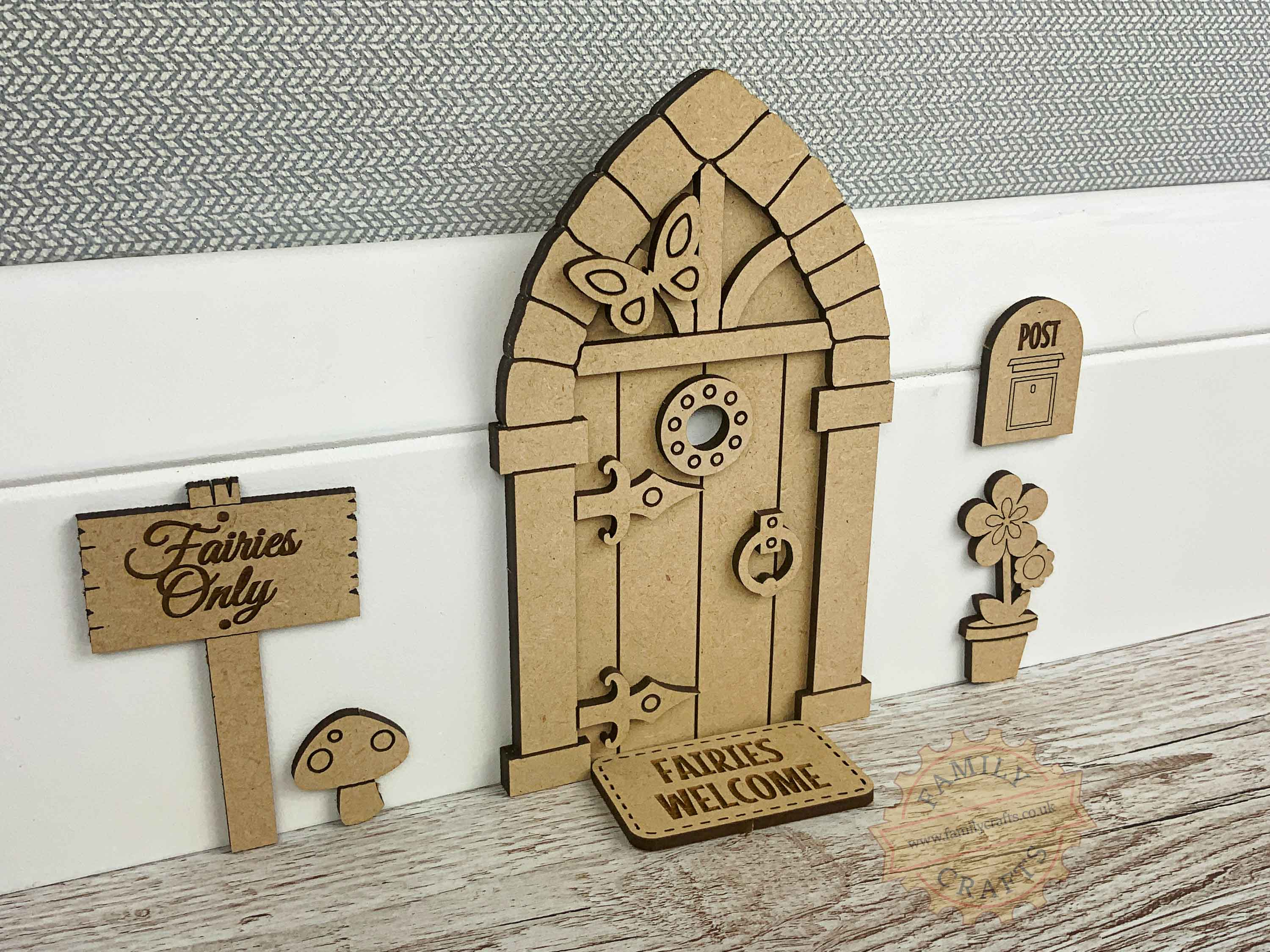 Laser Cut 3D Fairy Door Kit, Medieval Style Plywood Fairy Door