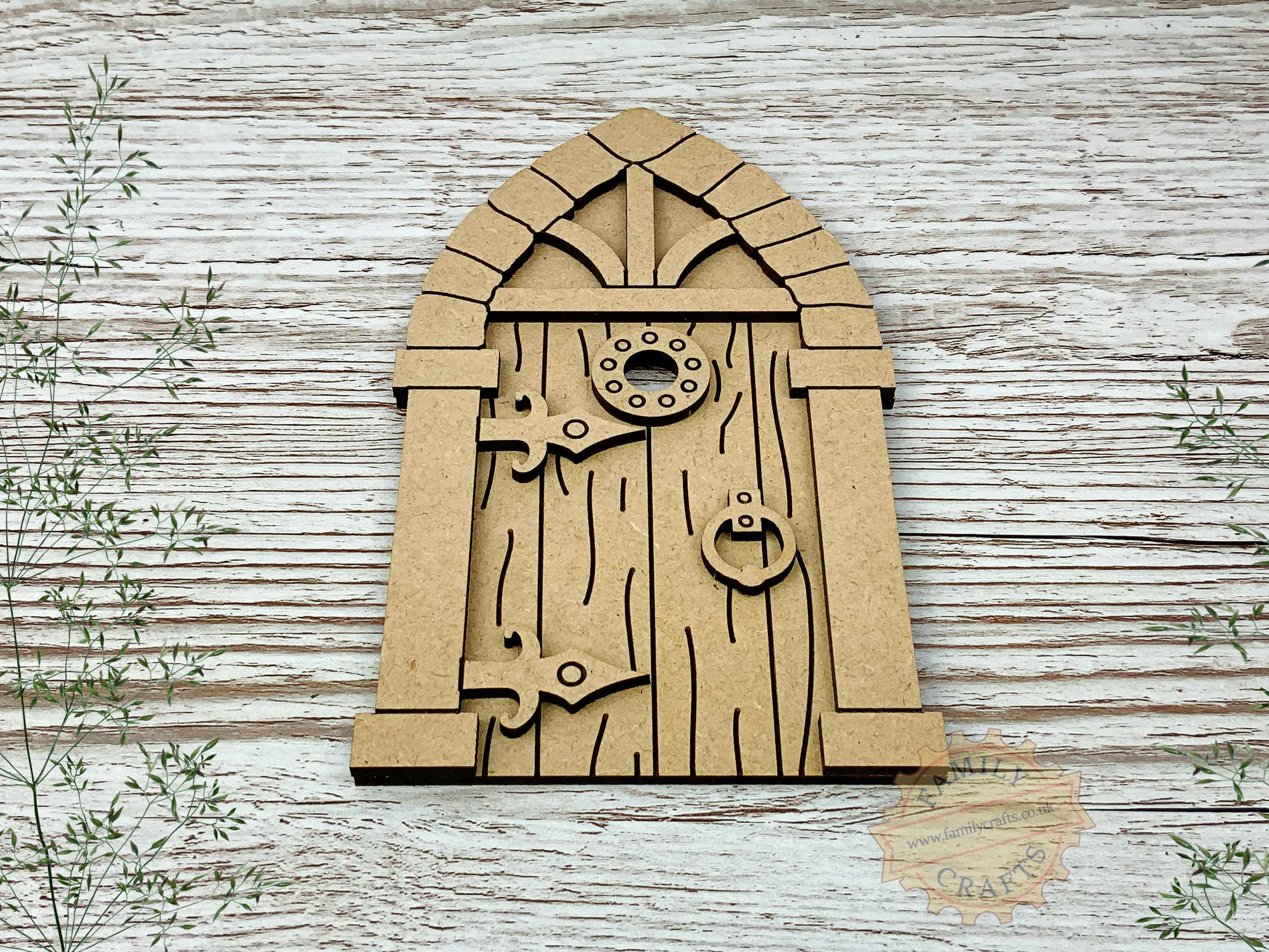 medieval fairy door kit with woodgrain mdf view front